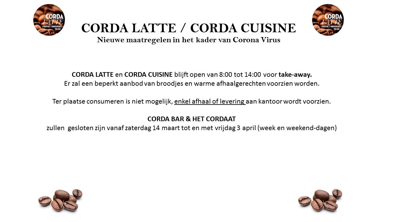 WEEK 12 maatregelen CORONA SCHERMEN LATTE EN CORDA CUISINE